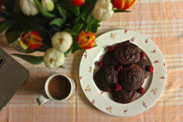 Healthy Chocolate & Raspberry Cookies