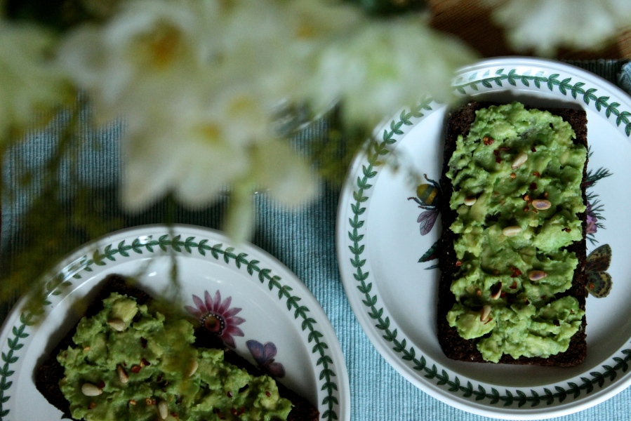 Avocado on rye bread lunch and breakfast idea